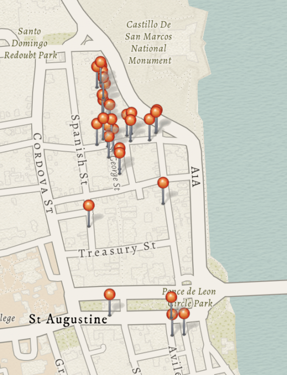 photo of St. Augustine map with pushpins that mark reconstructed buildings