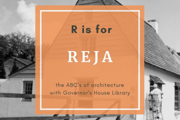 """a black and white photo with an overlaid orange box that reads """"R is for Reja"""""""