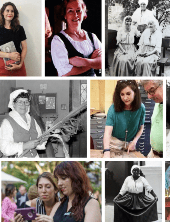a collage of color and black and white images of women working in cultural heritage in St. Augustine