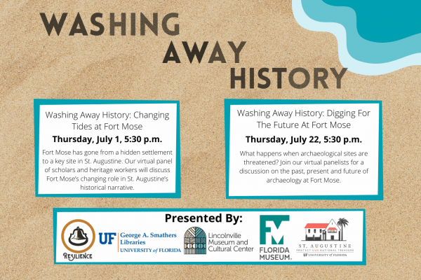 event flyer with a beach themed background and text about the event, with sponsor logos at the bottom