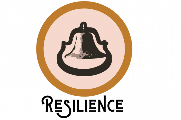 a pink, gold, and black circular logo with a bell in the center and the word Resilience in black text at the bottom